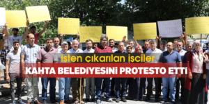 İşçiler Kahta Belediyesini Protesto Etti